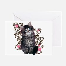 Cute Blue-eyed Tabby Cat Greeting Card