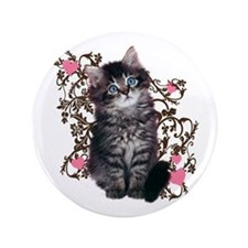 "Cute Blue-eyed Tabby Cat 3.5"" Button (100 pack)"