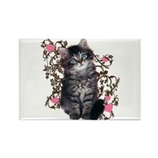 Cute Blue-eyed Tabby Cat Rectangle Magnet (100 pac