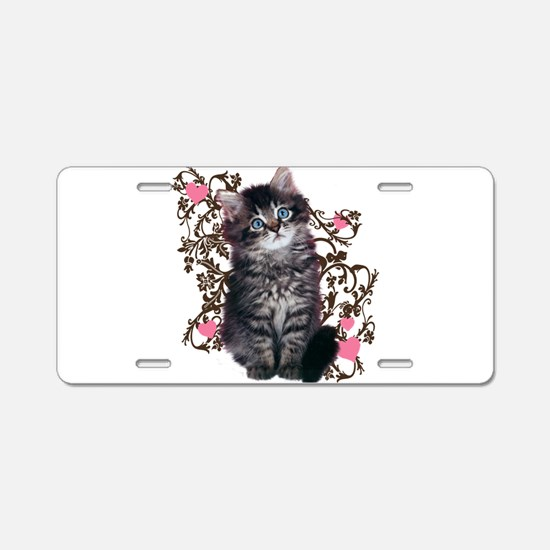 Cute Blue-eyed Tabby Cat Aluminum License Plate