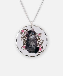 Cute Blue-eyed Tabby Cat Necklace