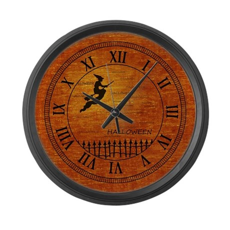 Flying Halloween Witch Large Wall Clock