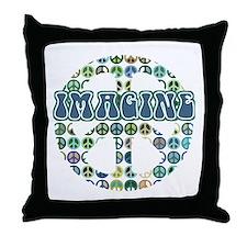 Cool 70s Retro Peace Throw Pillow