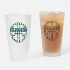 Cool 70s Retro Peace Drinking Glass