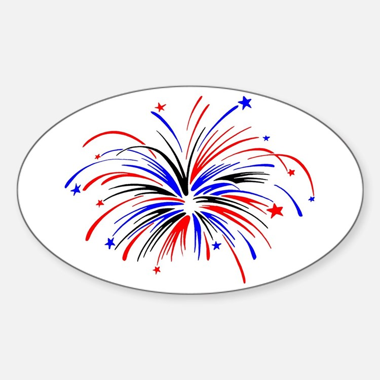 Fireworks Sticker (Oval)