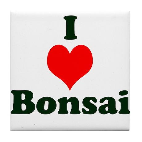 I Love Bonsai (with heart) Tile Coaster