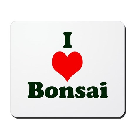 I Love Bonsai (with heart) Mousepad