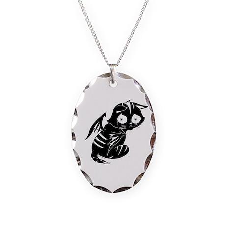 Sad Cat Necklace Oval Charm