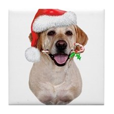 Yellow Lab Santa Tile Coaster