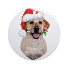 Yellow Lab Santa Ornament (Round)