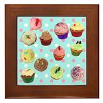 Polka Dot Cupcakes Framed Tile