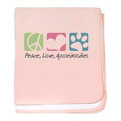 Peace, Love, Aussiedoodles baby blanket