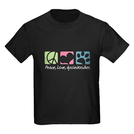 Peace, Love, Aussiedoodles Kids Dark T-Shirt