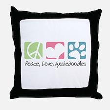 Peace, Love, Aussiedoodles Throw Pillow