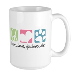 Peace, Love, Aussiedoodles Large Mug