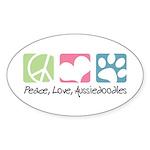 Peace, Love, Aussiedoodles Sticker (Oval 50 pk)