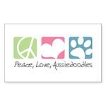 Peace, Love, Aussiedoodles Sticker (Rectangle 50 p