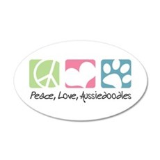 Peace, Love, Aussiedoodles 22x14 Oval Wall Peel