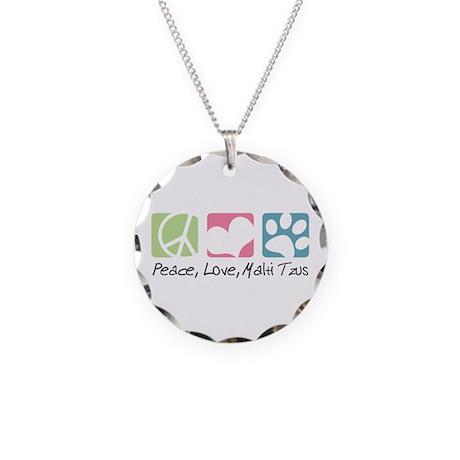 Peace, Love, Malti Tzus Necklace Circle Charm