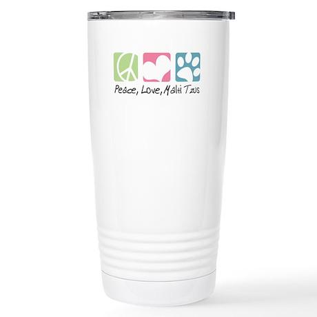 Peace, Love, Malti Tzus Stainless Steel Travel Mug