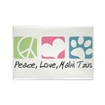 Peace, Love, Malti Tzus Rectangle Magnet (100 pack