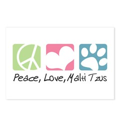 Peace, Love, Malti Tzus Postcards (Package of 8)