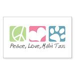Peace, Love, Malti Tzus Sticker (Rectangle)