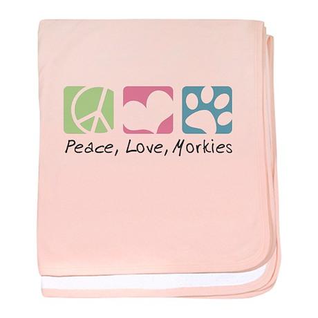 Peace, Love, Morkies baby blanket