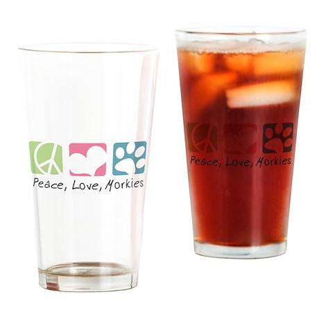 Peace, Love, Morkies Drinking Glass