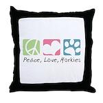 Peace, Love, Morkies Throw Pillow