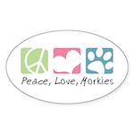 Peace, Love, Morkies Sticker (Oval 10 pk)
