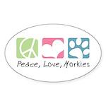 Peace, Love, Morkies Sticker (Oval 50 pk)