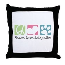 Peace, Love, Schnoodles Throw Pillow