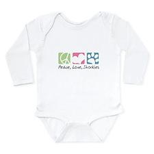 Peace, Love, Shorkies Long Sleeve Infant Bodysuit