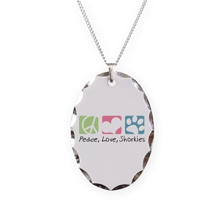 Peace, Love, Shorkies Necklace Oval Charm