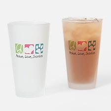 Peace, Love, Shorkies Drinking Glass