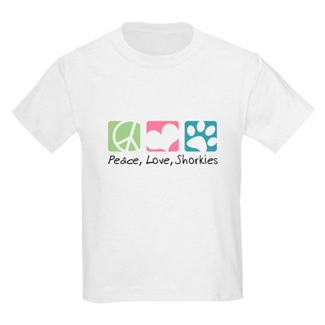 Peace, Love, Shorkies Kids Light T-Shirt