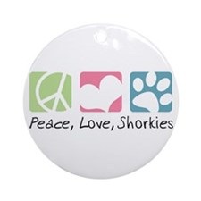 Peace, Love, Shorkies Ornament (Round)