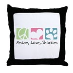 Peace, Love, Shorkies Throw Pillow