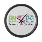 Peace, Love, Shorkies Large Wall Clock