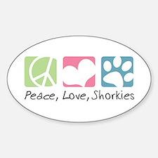 Peace, Love, Shorkies Sticker (Oval)