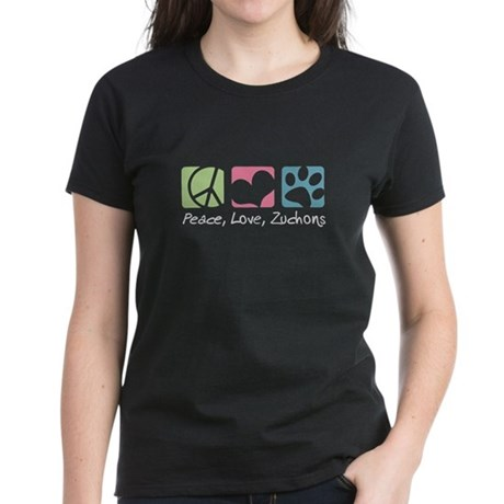 Peace, Love, Zuchons Women's Dark T-Shirt