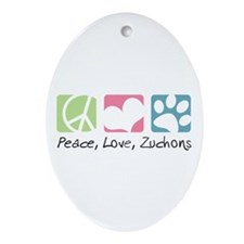 Peace, Love, Zuchons Ornament (Oval)