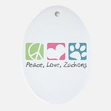 Peace, Love, Zuchons Ornament (Oval)