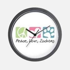 Peace, Love, Zuchons Wall Clock