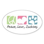 Peace, Love, Zuchons Sticker (Oval 10 pk)