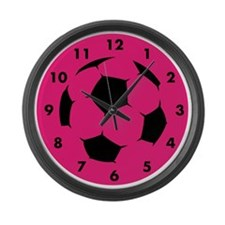 Pink Soccer Large Wall Clock