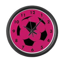 Pink Soccer Large Wall Clock