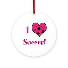 I Heart Soccer Ornament (round)