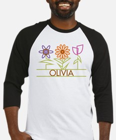 Olivia with cute flowers Baseball Jersey